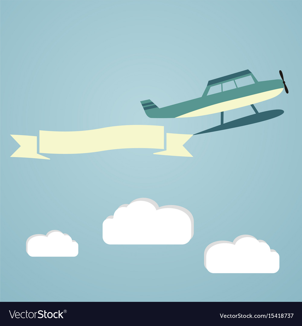 Flying planes with banners template for text vector image