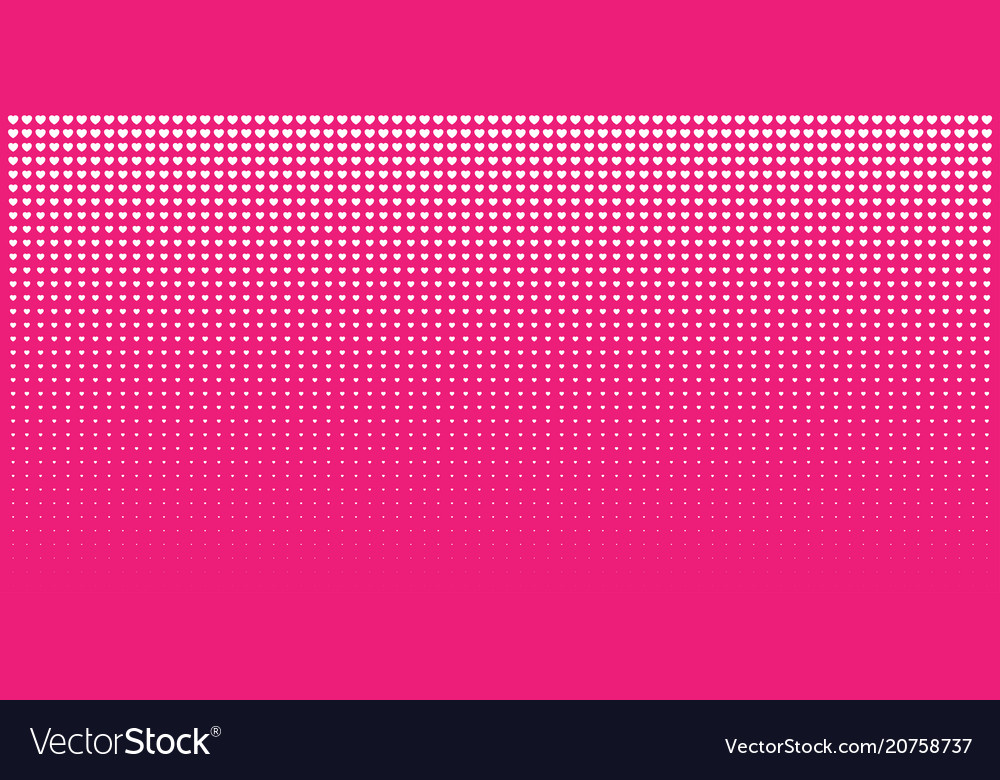Halftone pink hearts gradient background