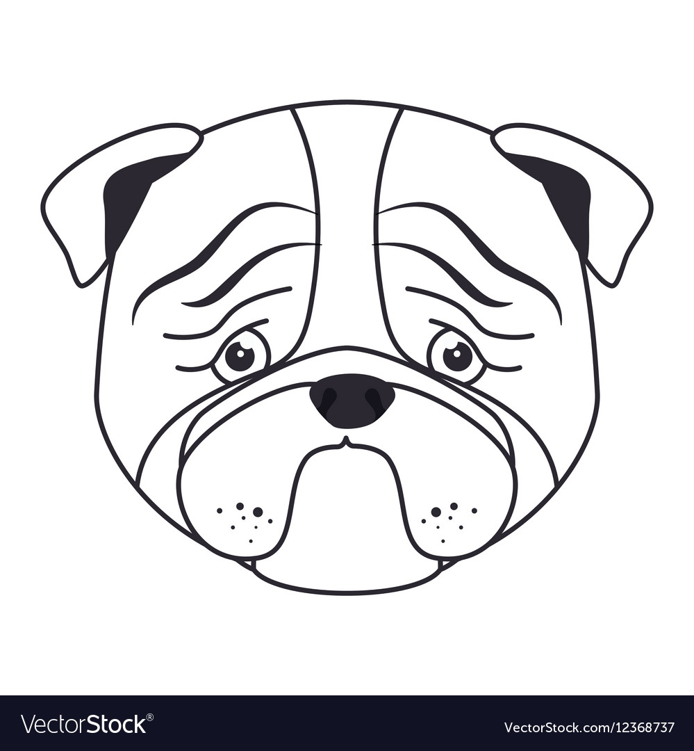 Hand draw sad face dog