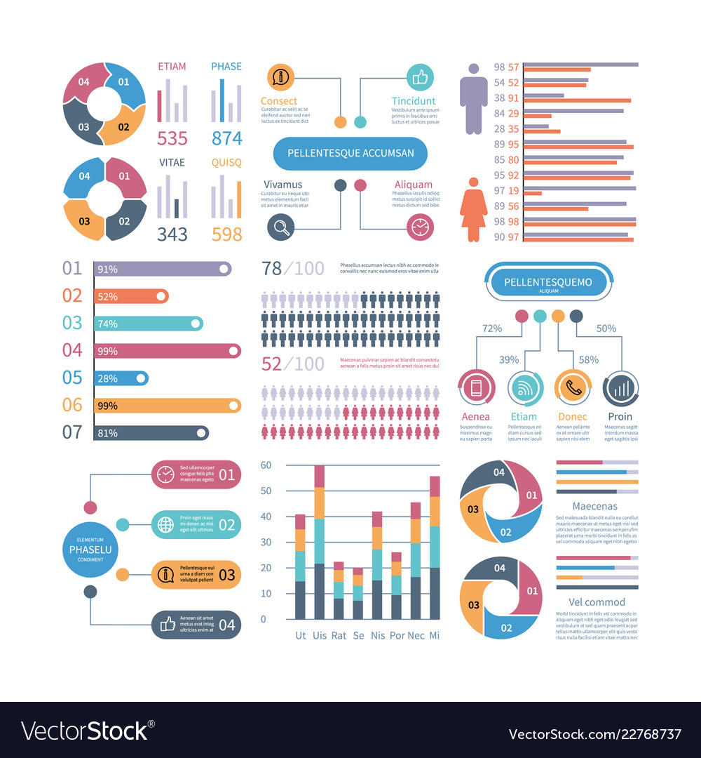Infographic graphs business chart process