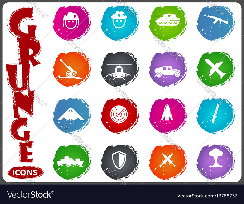 Military and war icons in grunge style vector image