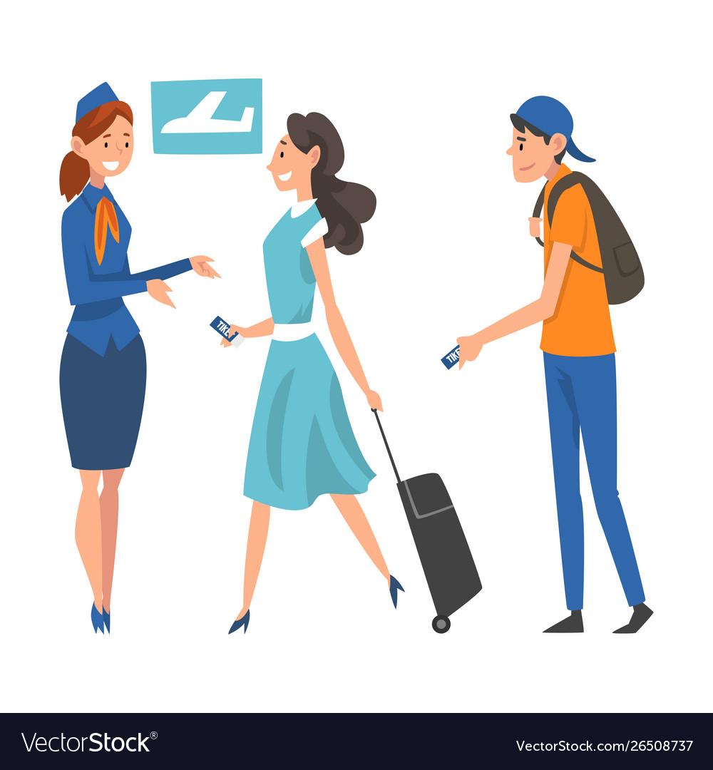 Passengers waiting check at airport stewardess