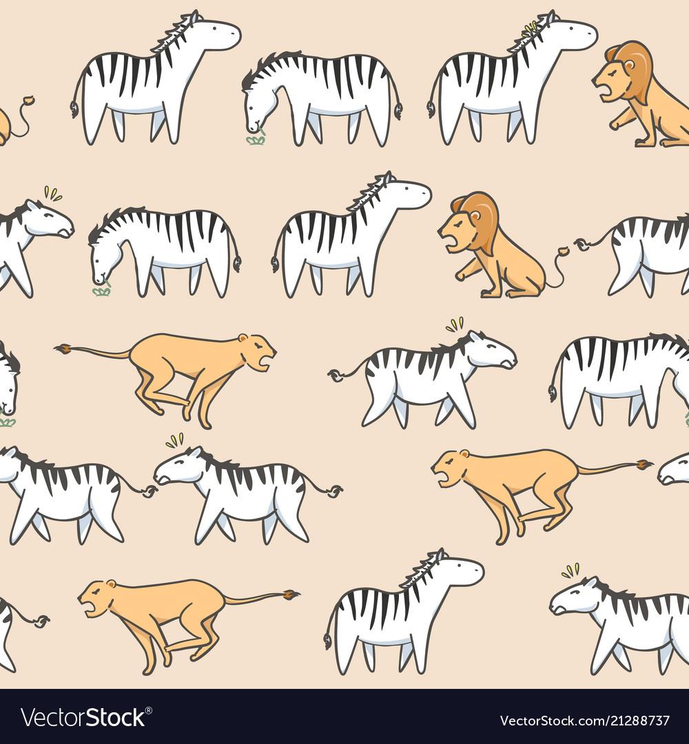 Seamless pattern cute zebra tiger and lion cartoon