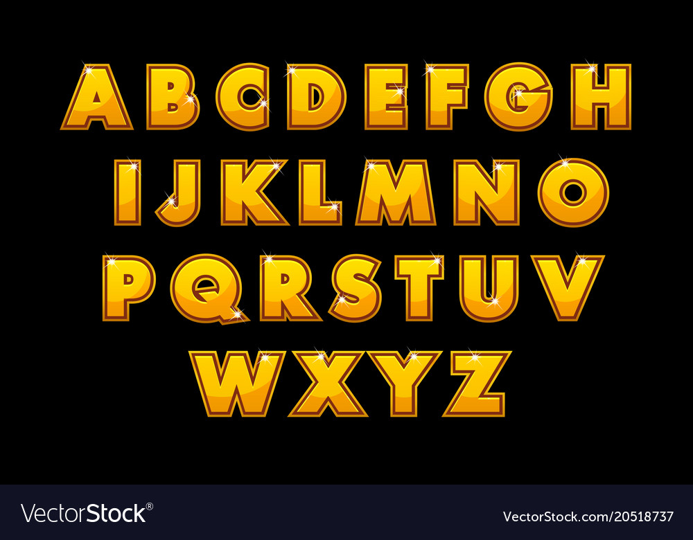 Stylish gold alphabet