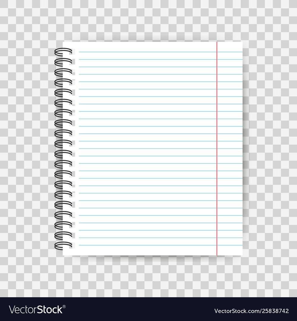 Blank lined paper template one page notebook end Vector Image
