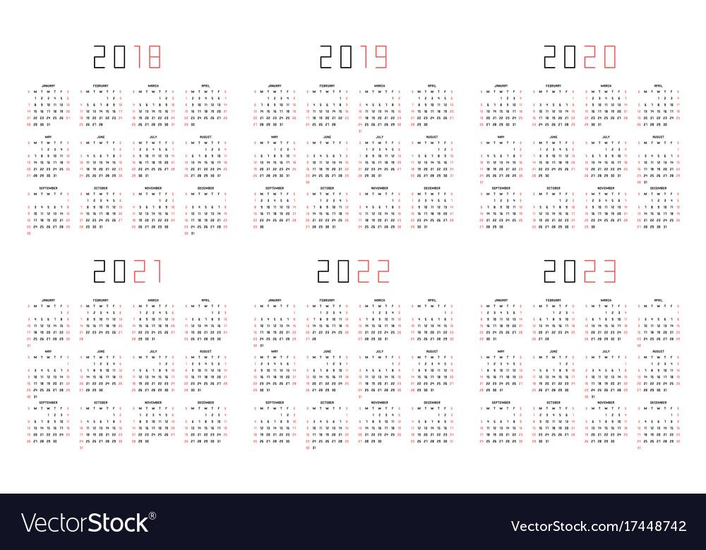 Calendar 2018 2019 2020 2021 2022 2023 Royalty Free Vector