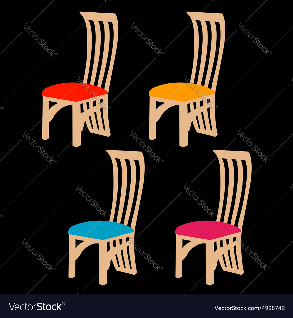 Colorful dining chairs on a black background