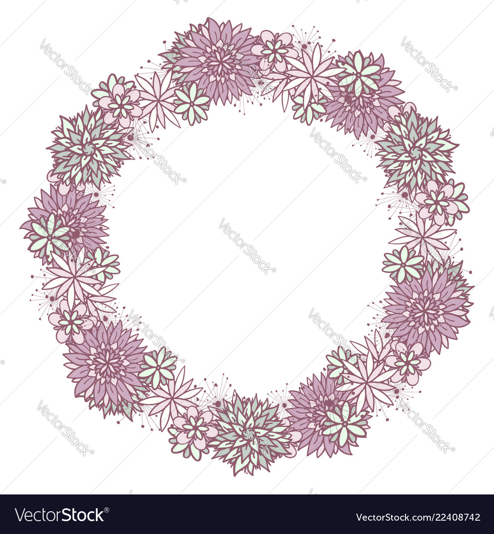 Cute girly doodle round floral frame