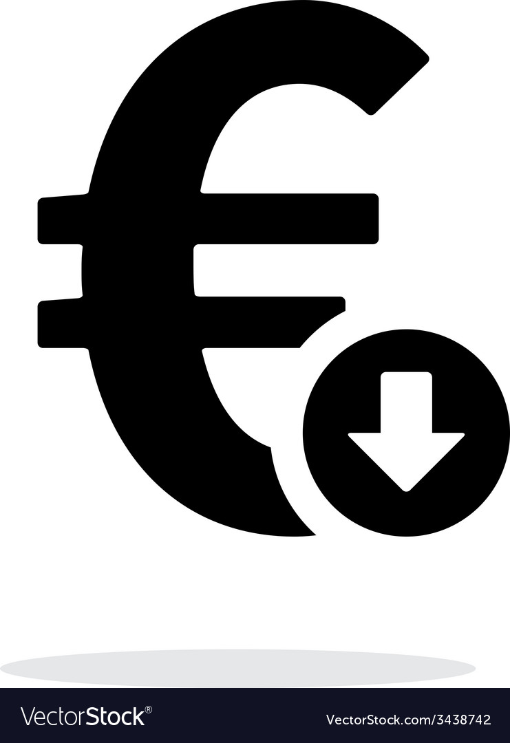Euro exchange rate down icon on white background