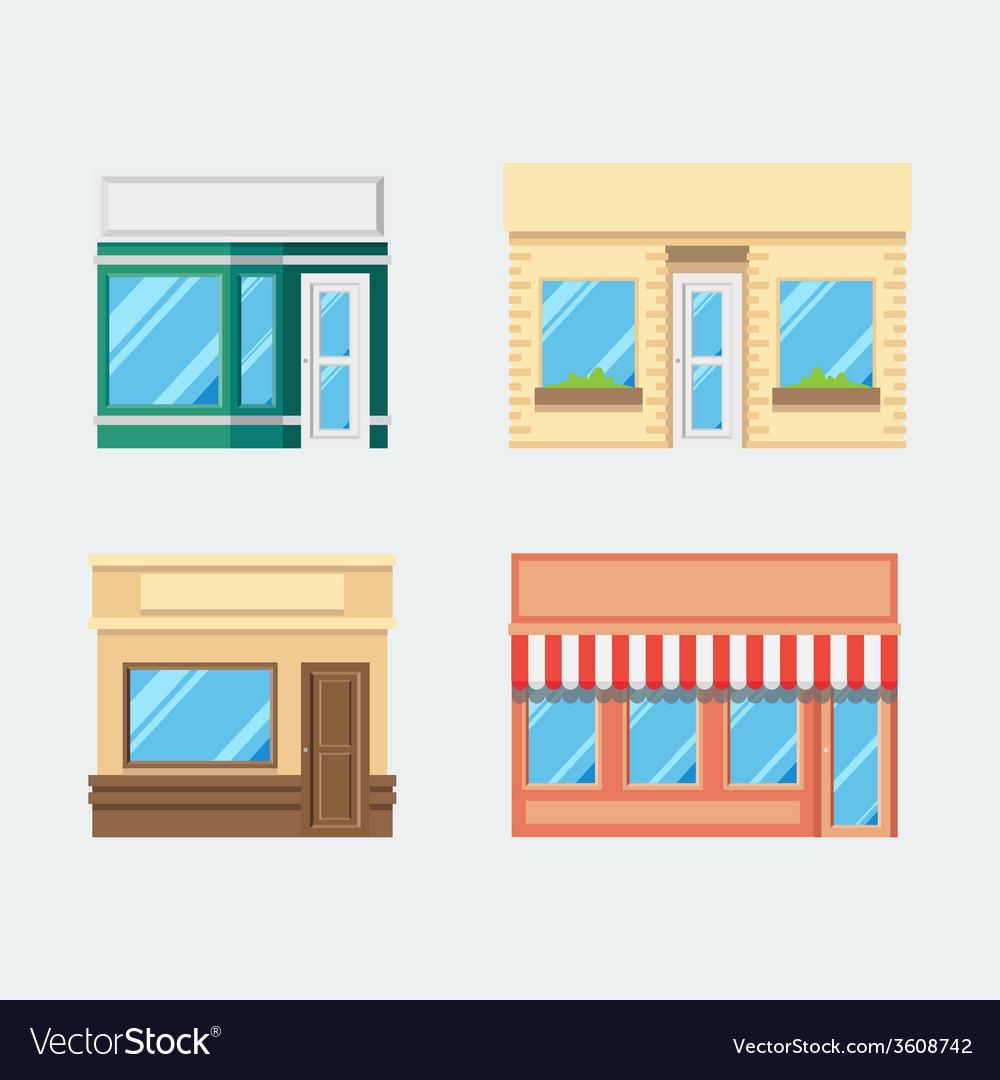 Flat design of front shop set