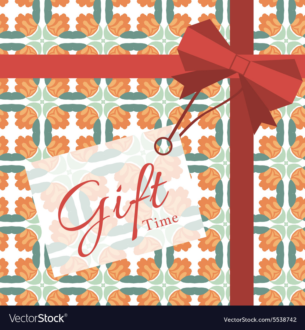 Gift with geometric patterns vector image
