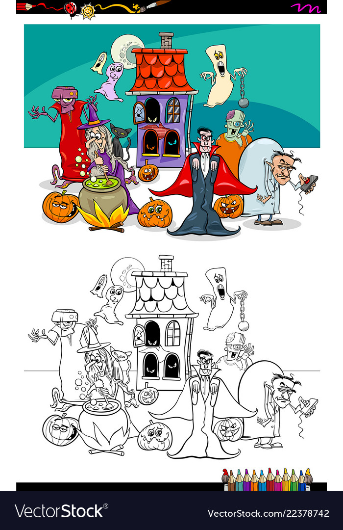 Halloween with cartoon characters coloring book