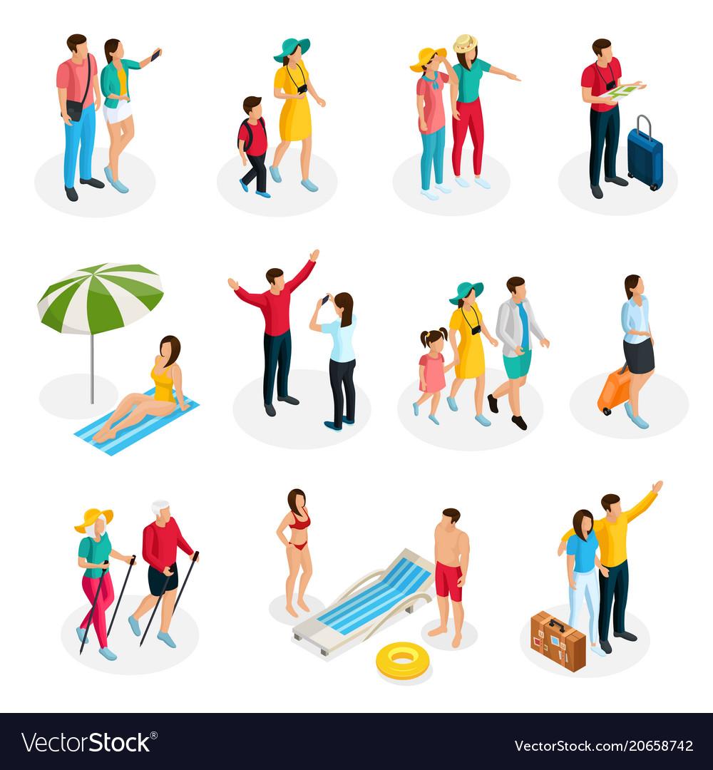 Isometric travelers characters set vector image