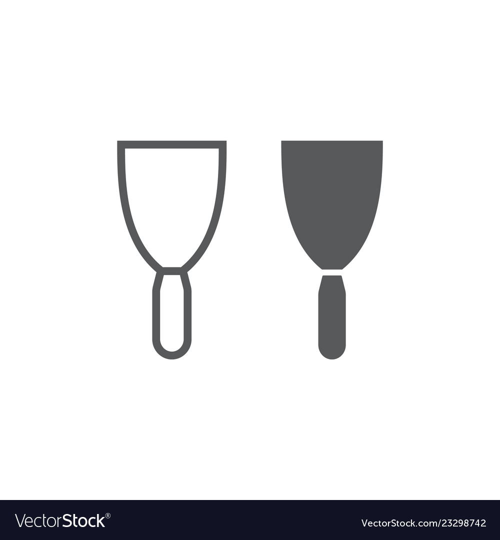 Putty knife line and glyph icon tool and scraper