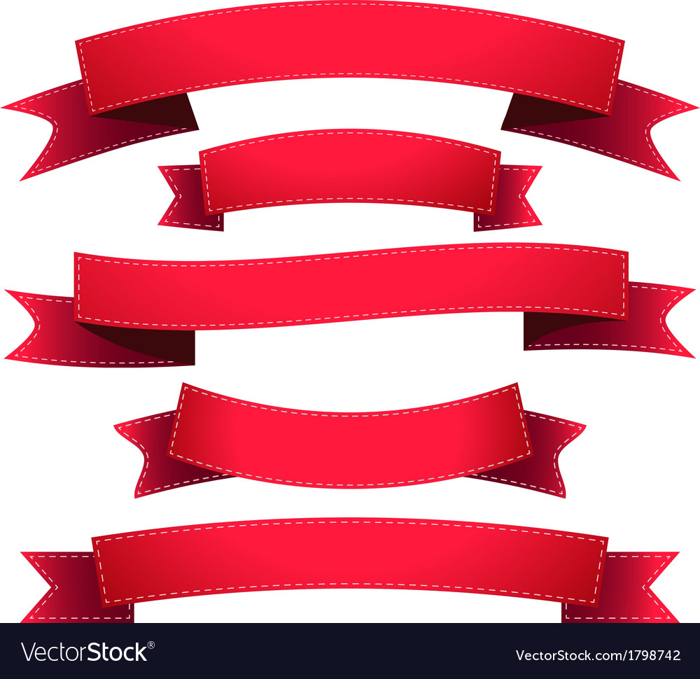 Set ribbon red vector image