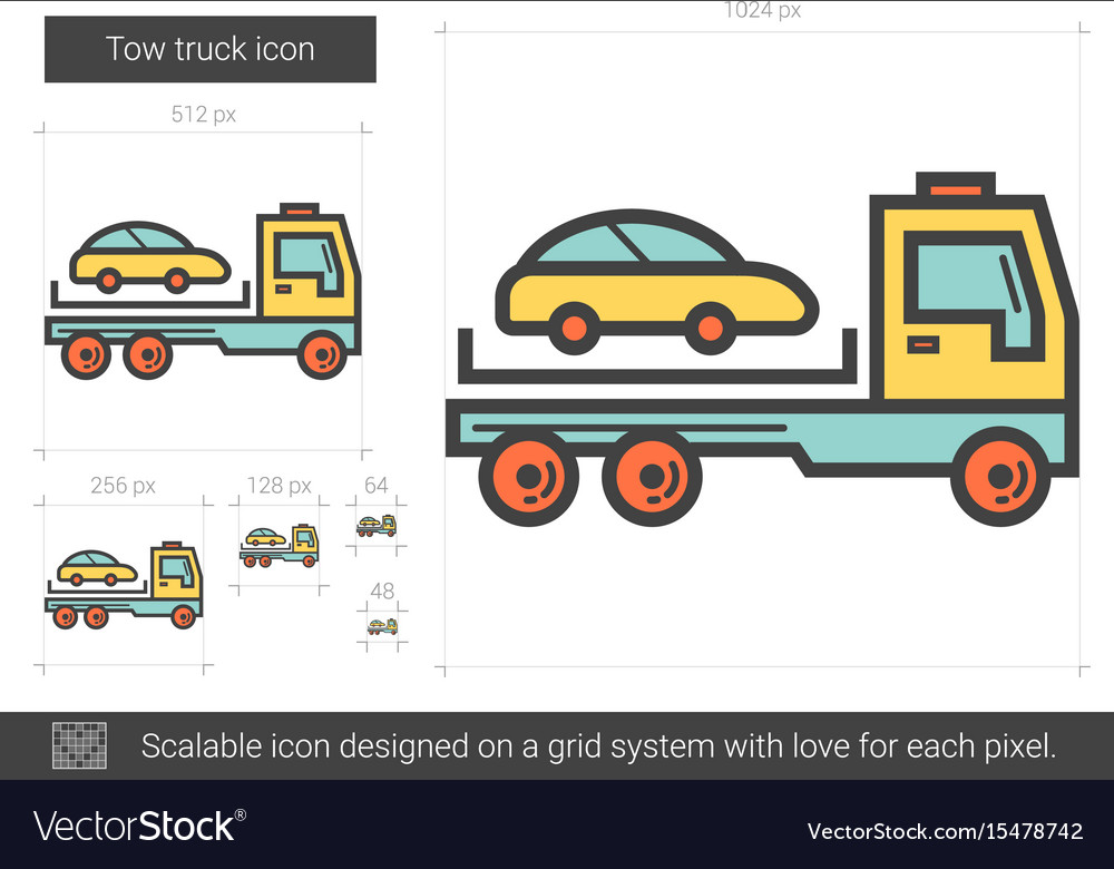 Tow truck line icon vector image