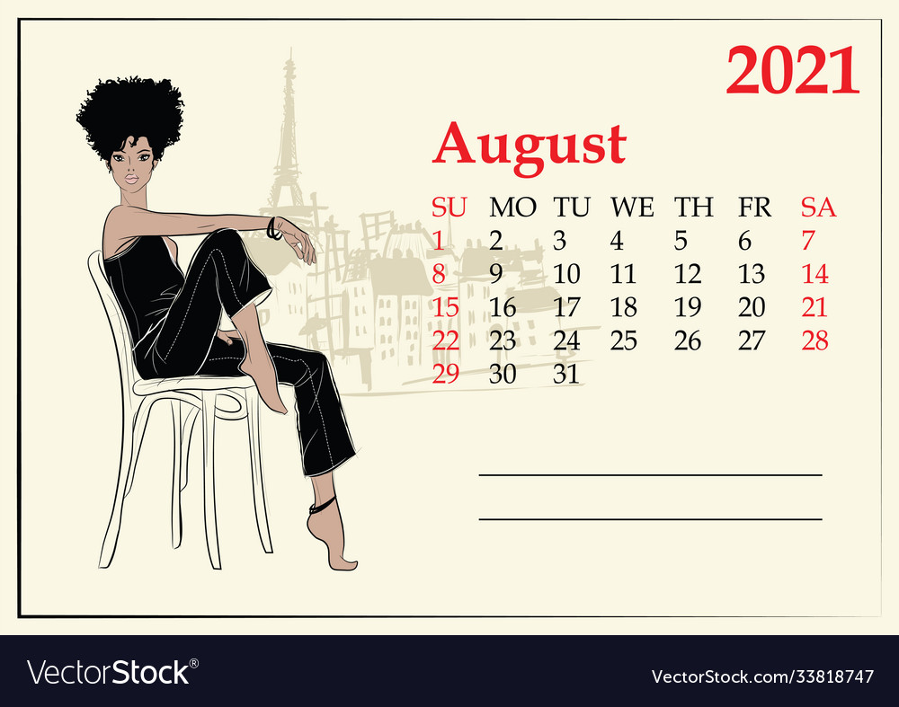 Fashion August Calendar Vector Images (6)