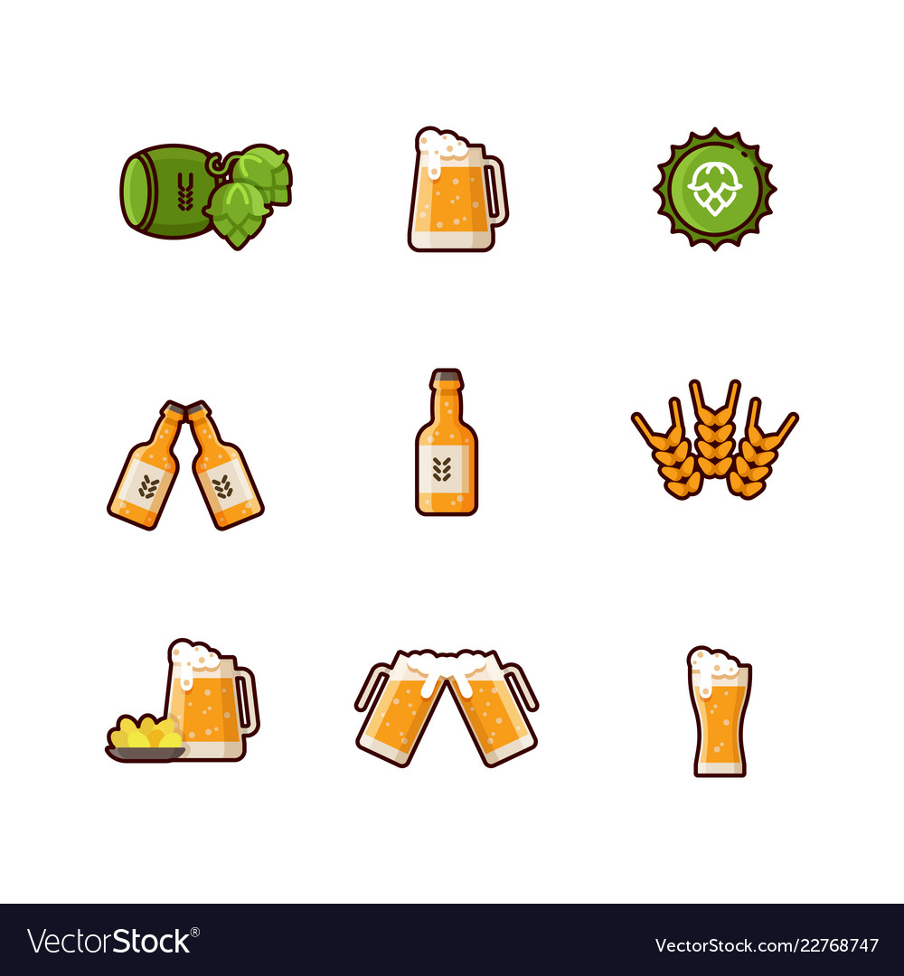 Beer line icons isolated on white