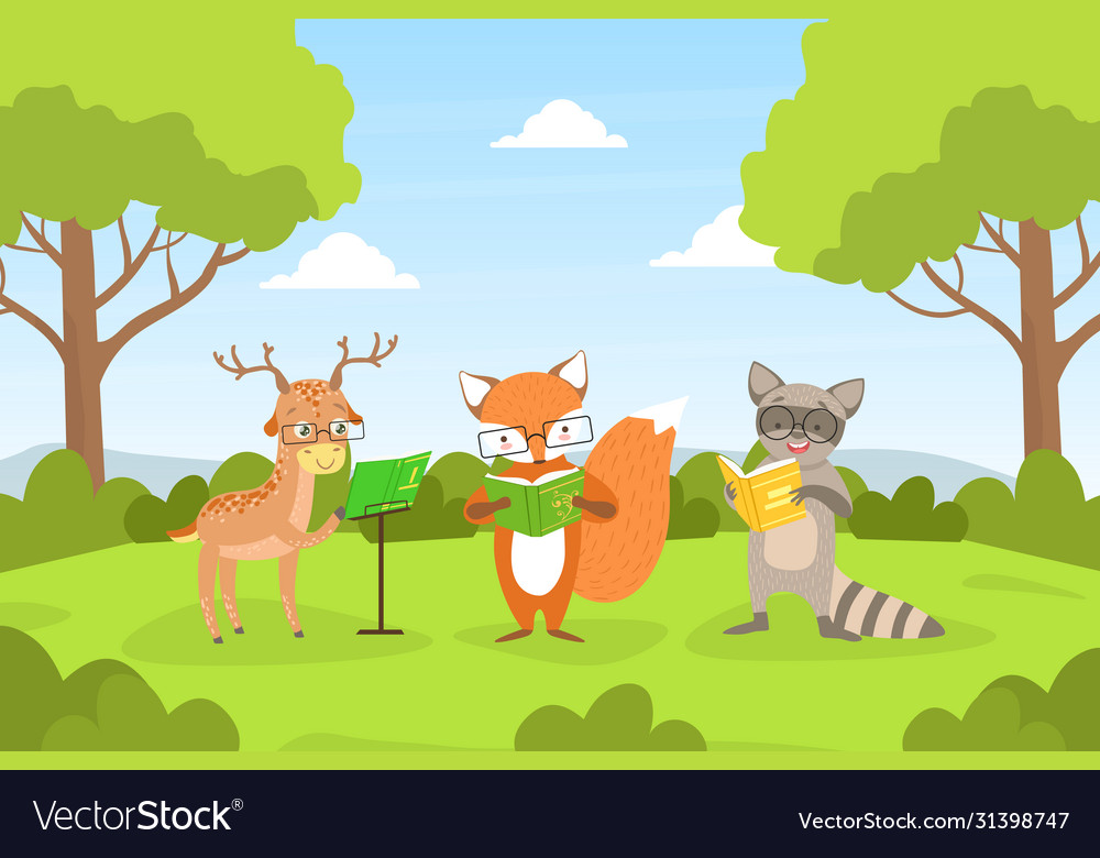 Cute woodland animals in glasses sitting on lawn
