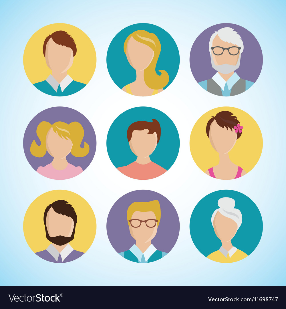 flat icon set people face avatar royalty free vector image
