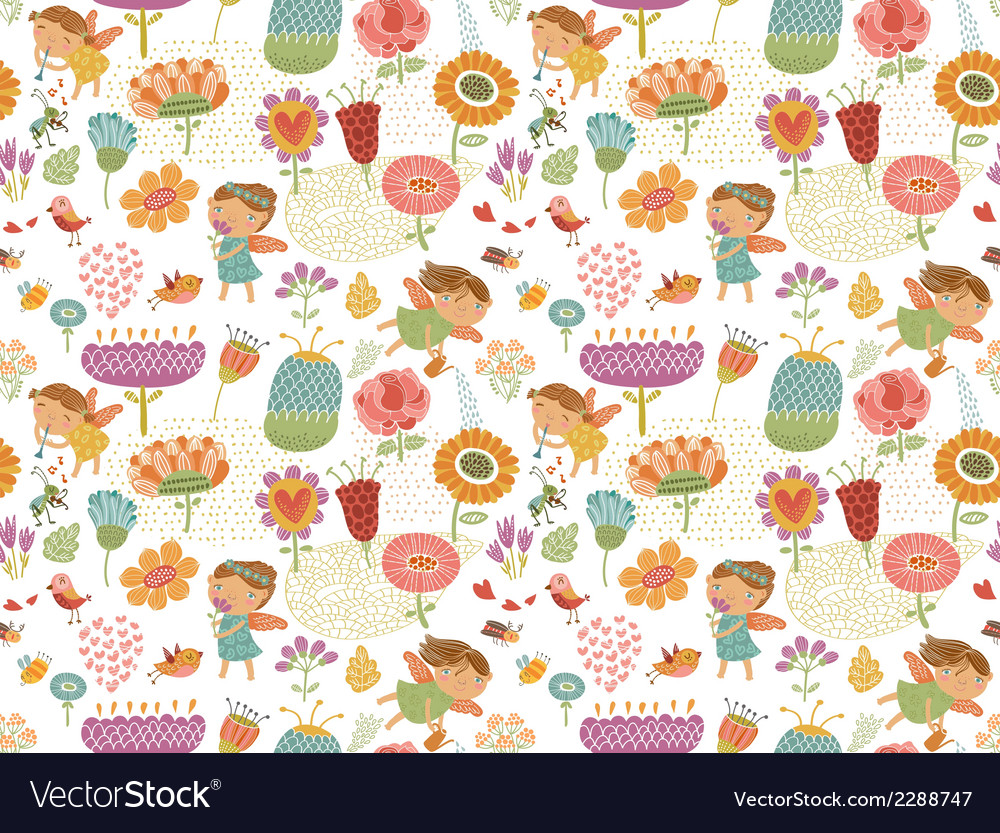 Floral pattern with fairies white