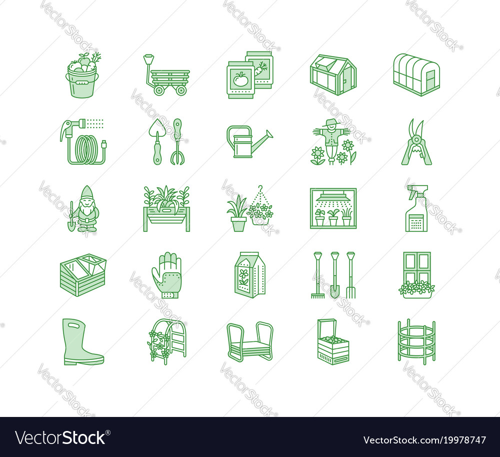 Gardening planting horticulture line icons