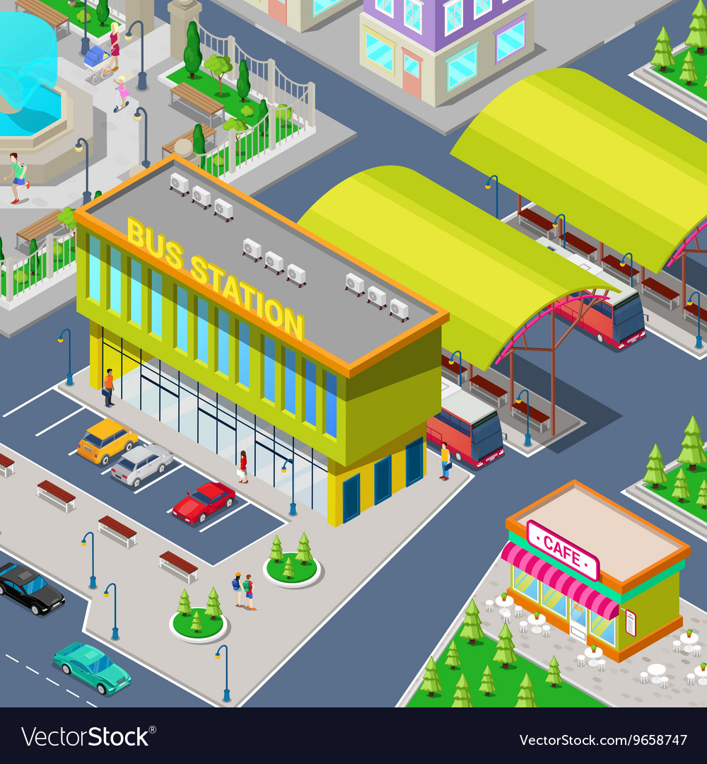 Isometric City Bus Station with Buses