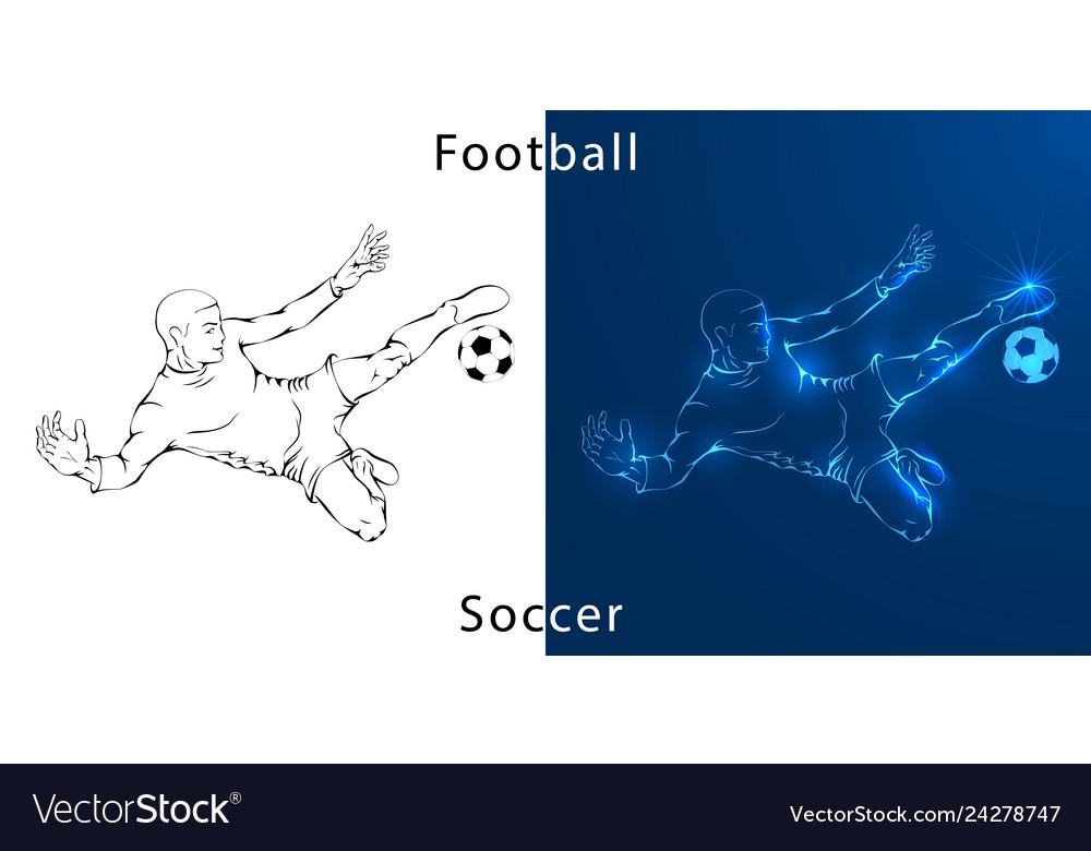 Line drawing shows a football player kicks the