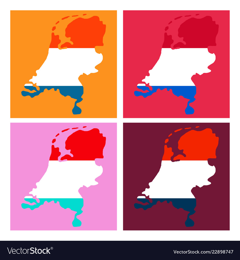 Map of netherlands with flag isolated white