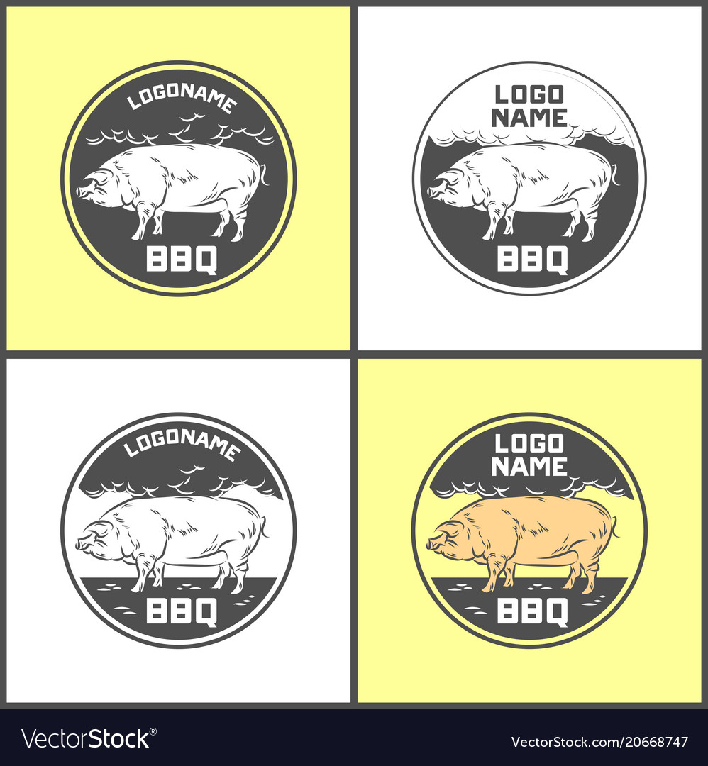 Set of pig farm fresh pork meat emblems design