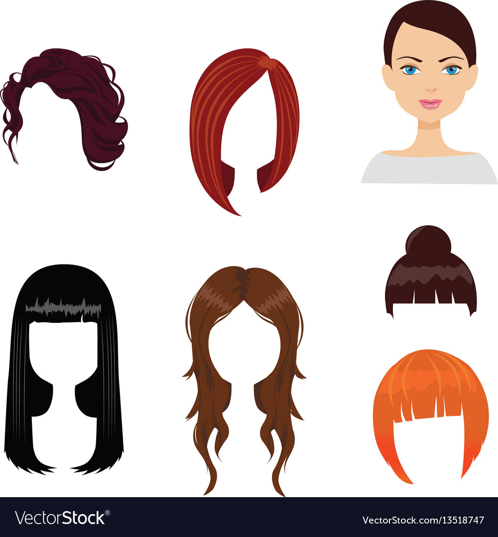 Set of six woman haircuts