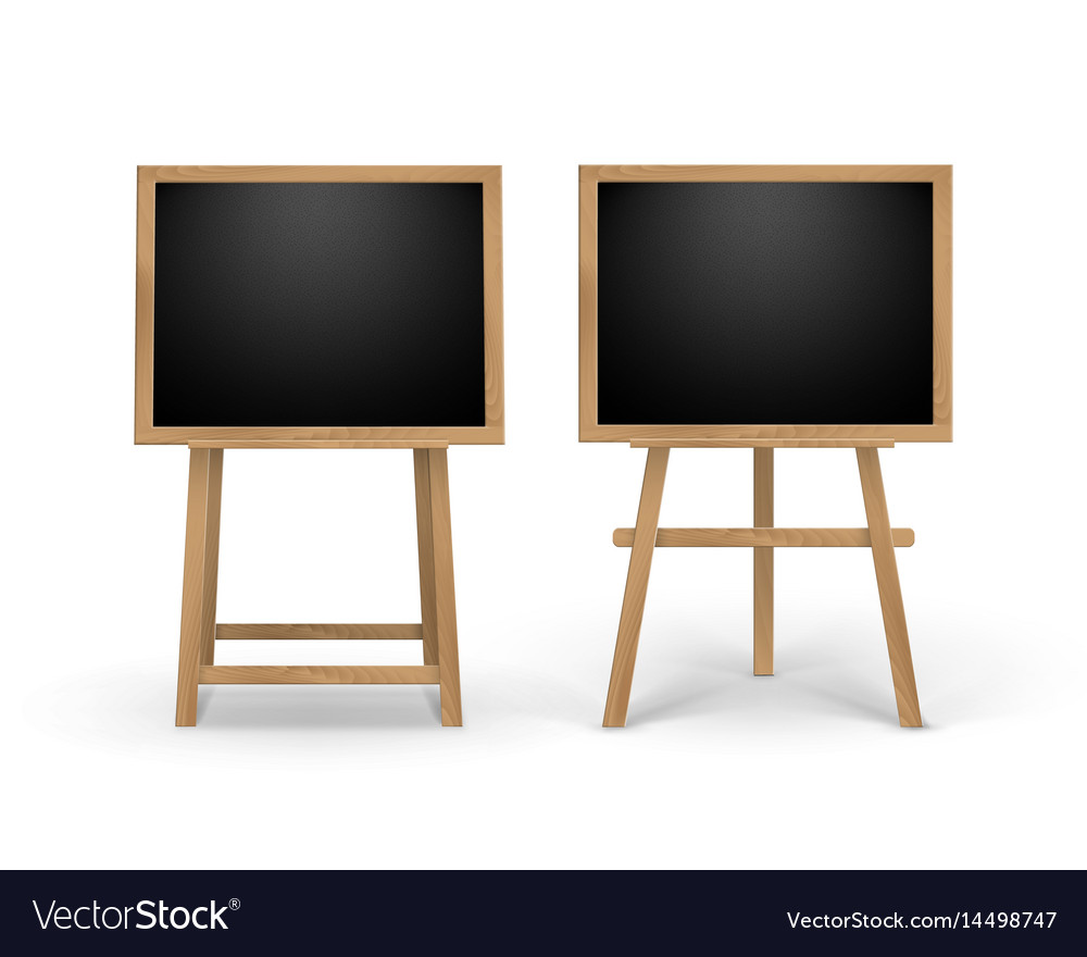 Set of wooden easels with black boards