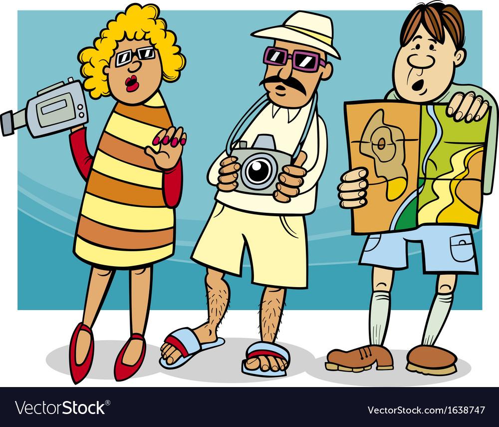 Tourist group cartoon
