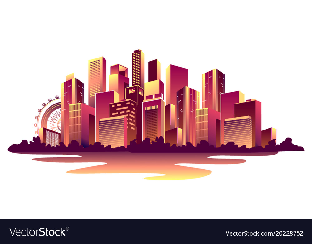 Abstract glowing city Royalty Free Vector Image