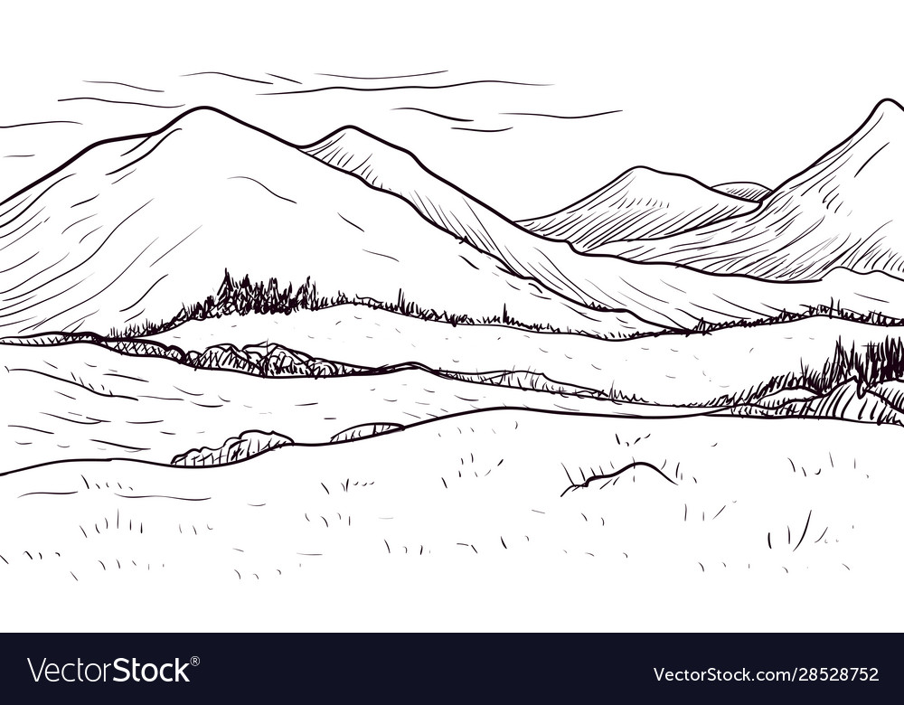 Abstract monochrome sketch landscape