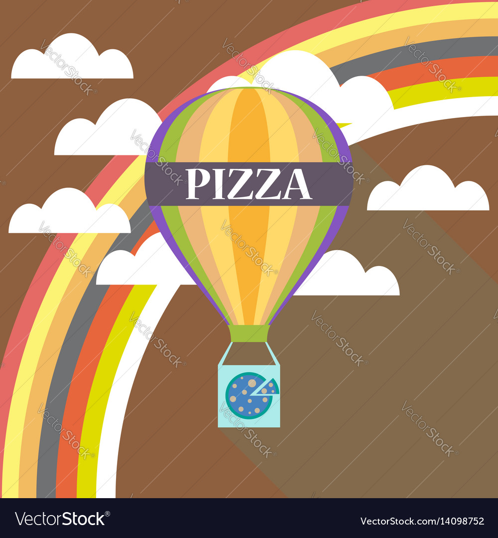 air balloon pizza delivery flat design royalty free vector