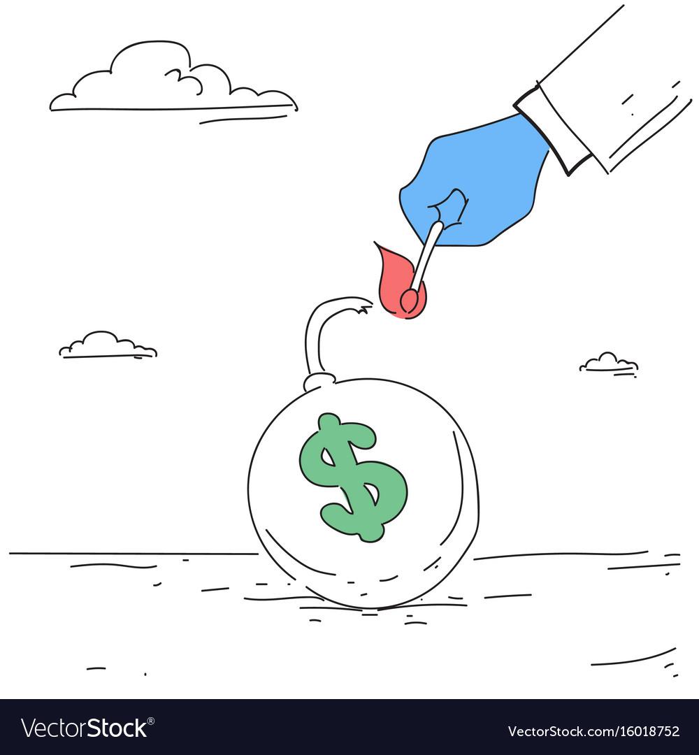 Business man hand fire money bomb credit debt vector image