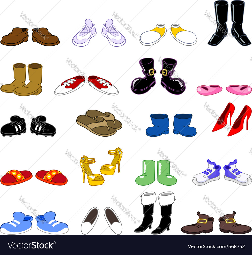Cartoon shoes set vector image