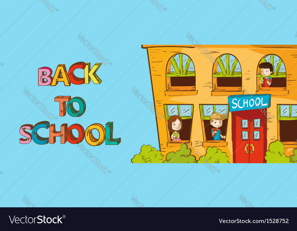 Colorful education back to school cartoon vector image