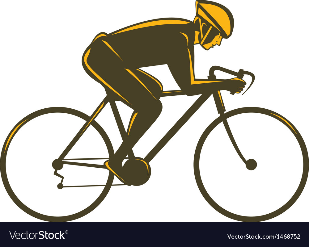 Cyclist riding bicycle viewed from side vector image