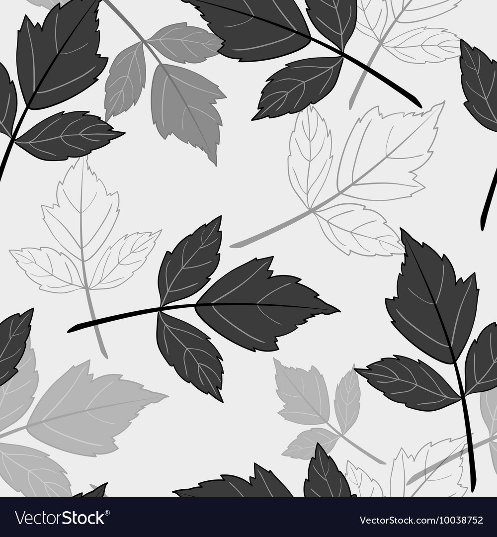 Gray seamless pattern with leaves