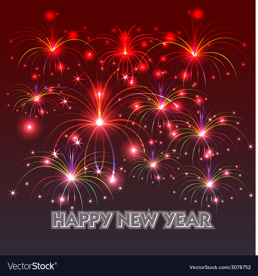 happy new year with fireworks background vector image