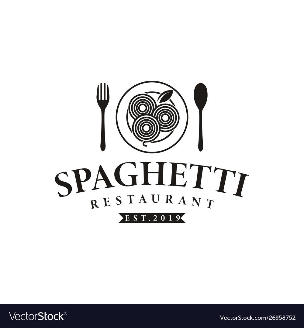 Hipster retro spaghetti pasta noodle logo