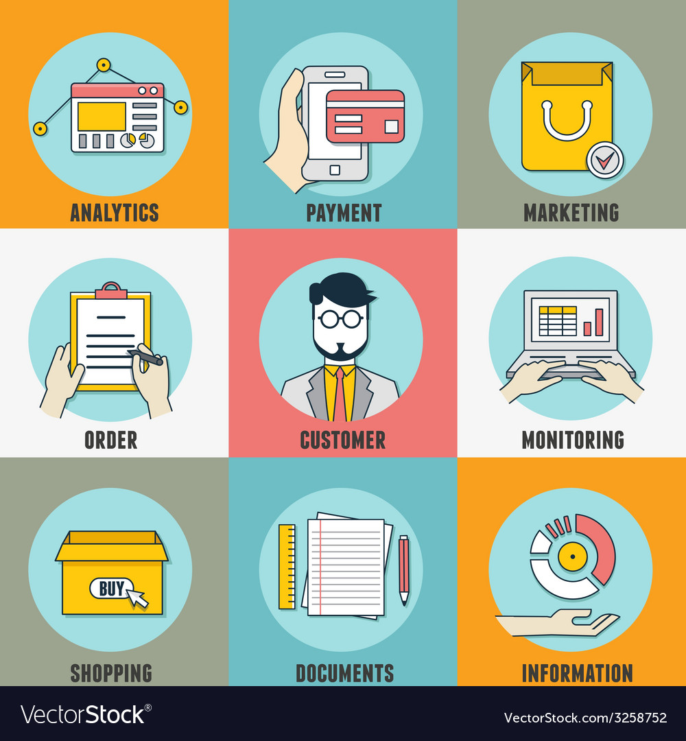 Icons for mobile marketing email marketing vector image