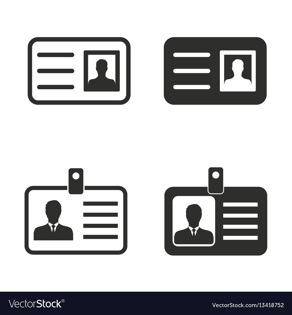 Identification card icon set vector image