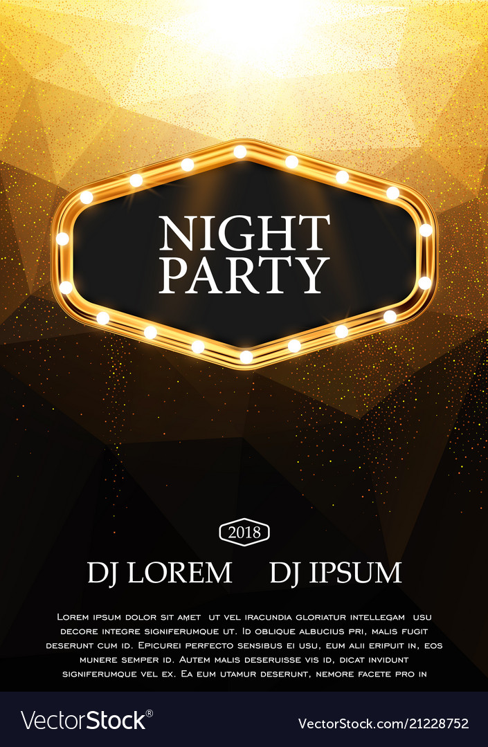 night party flyer template design royalty free vector image