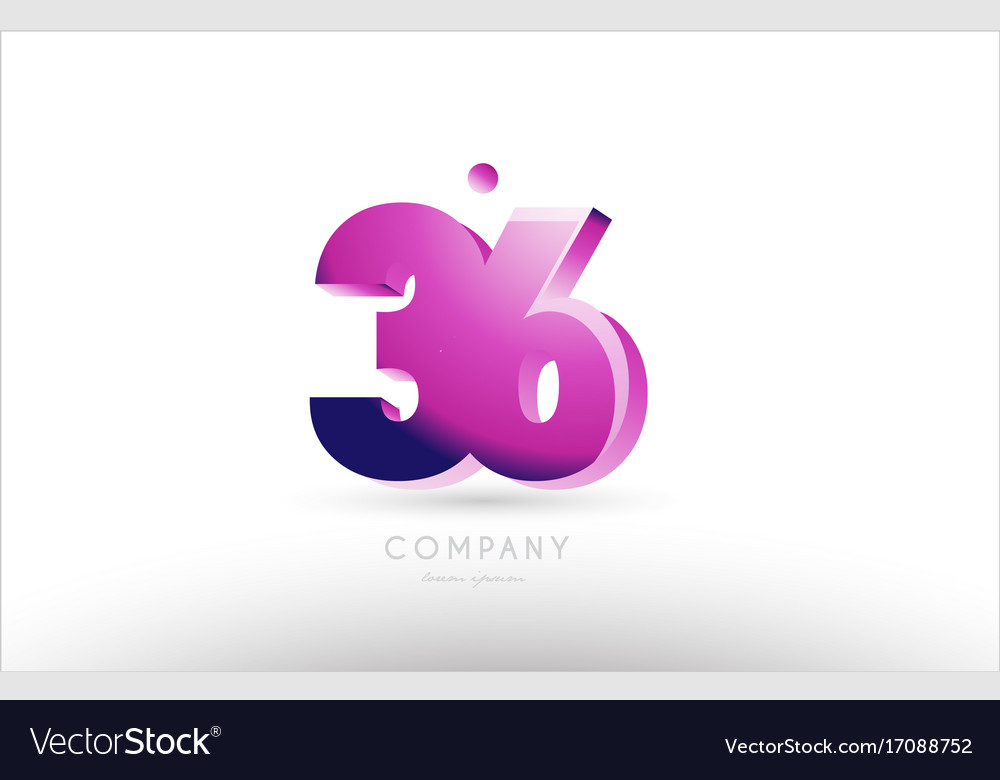 Number 36 black white pink logo icon design
