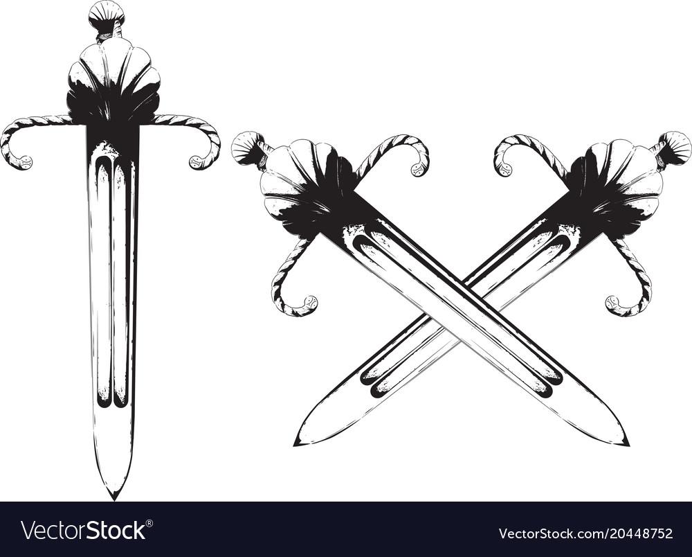 Old short sword vector image