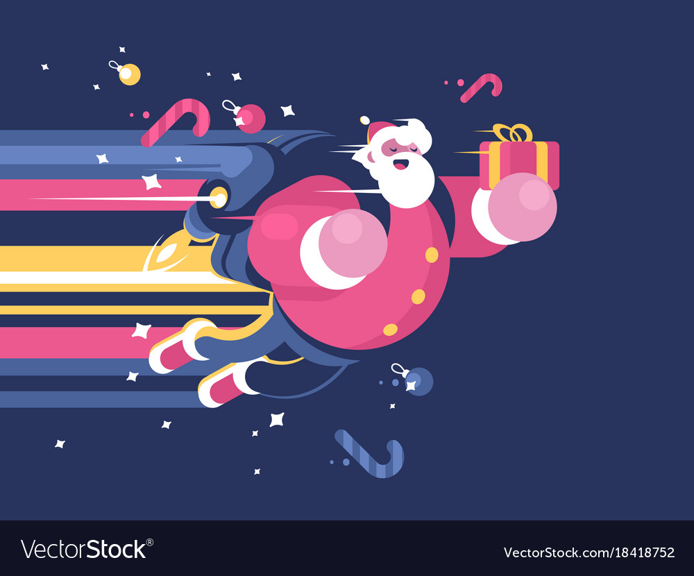 Santa claus with bag gifts flying