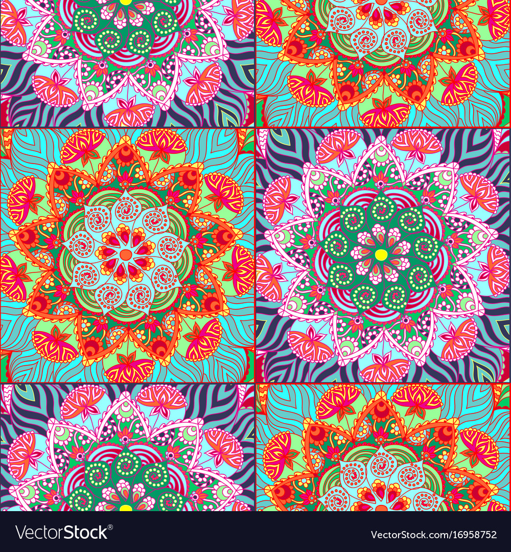 Seamless pattern tiles in oriental style vector image